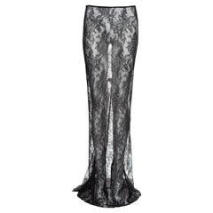 Dolce & Gabbana chalk grey lace trained evening skirt, ss 1999