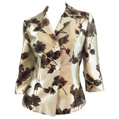Dolce & Gabbana Champagne Silk with Velvet Skirt and Jacket Set