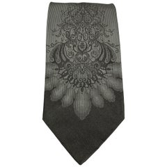 DOLCE & GABBANA Charcoal Abstract Paisley Print Silk Tie