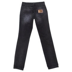 Dolce & Gabbana Charcoal Grey Faded Denim Distressed Straight Fit Jeans XS