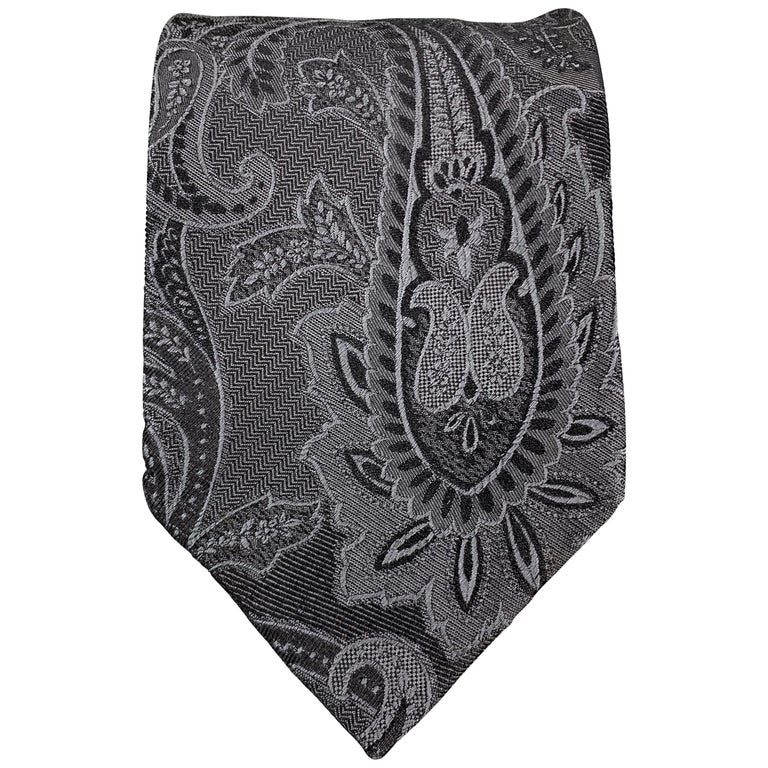 DOLCE & GABBANA Charcoal Ombre Paisely Silk Tie For Sale