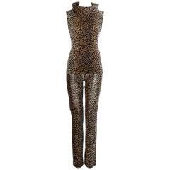 Dolce & Gabbana cheetah print pants and turtle neck vest set, ss 1996