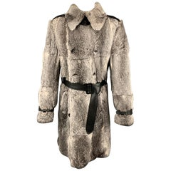 DOLCE & GABBANA Chest Size 38 Gray Rabbit Fur Leather Double Breasted Long Coat