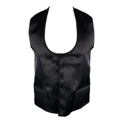 DOLCE & GABBANA Chest Size 42 Black Silk / Wool Trim Round Collar Vest