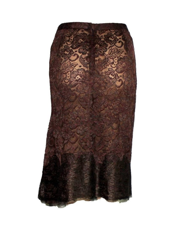 Black Dolce & Gabbana Chocolate Brown Pleated Lace Silk Skirt For Sale