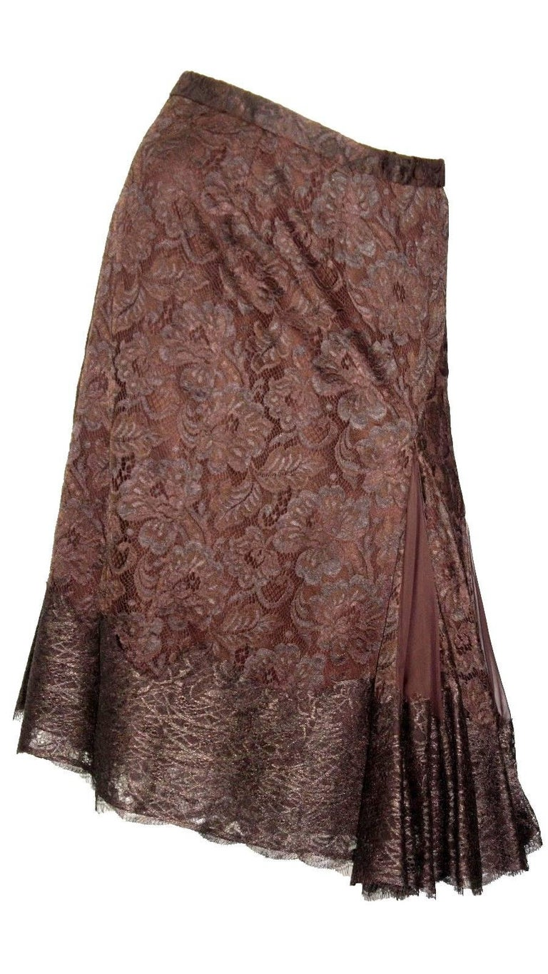 Dolce & Gabbana Chocolate Brown Pleated Lace Silk Skirt In New Condition For Sale In Switzerland, CH