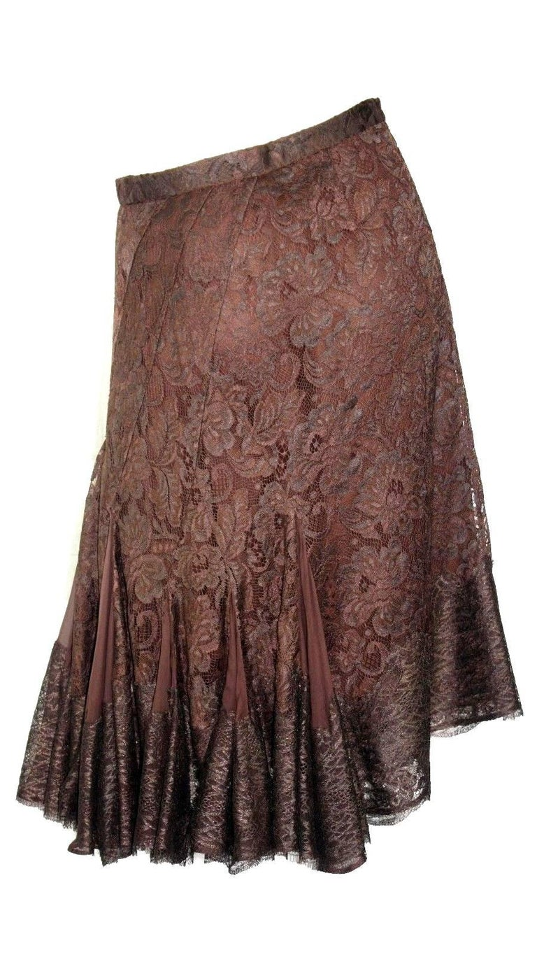 Women's Dolce & Gabbana Chocolate Brown Pleated Lace Silk Skirt For Sale
