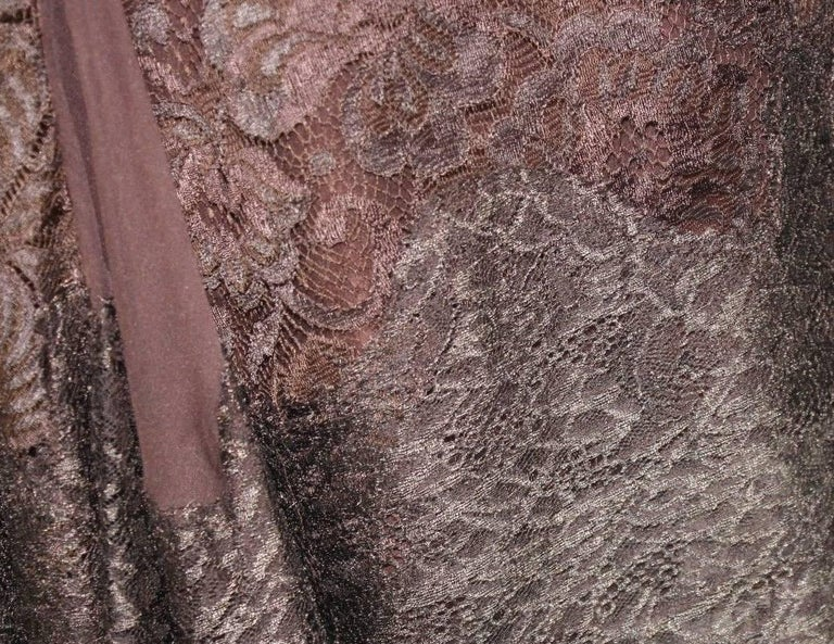 Dolce & Gabbana Chocolate Brown Pleated Lace Silk Skirt For Sale 1