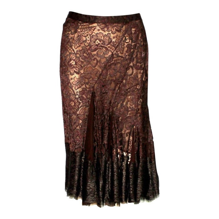 Dolce & Gabbana Chocolate Brown Pleated Lace Silk Skirt For Sale