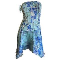Dolce & Gabbana Colorful Lace Up Silk Corset Dress