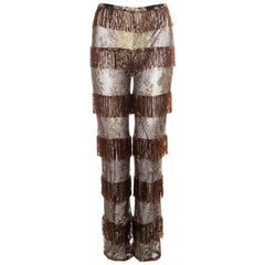 Dolce & Gabbana copper and gold lace beaded fringe pants, ss 2000