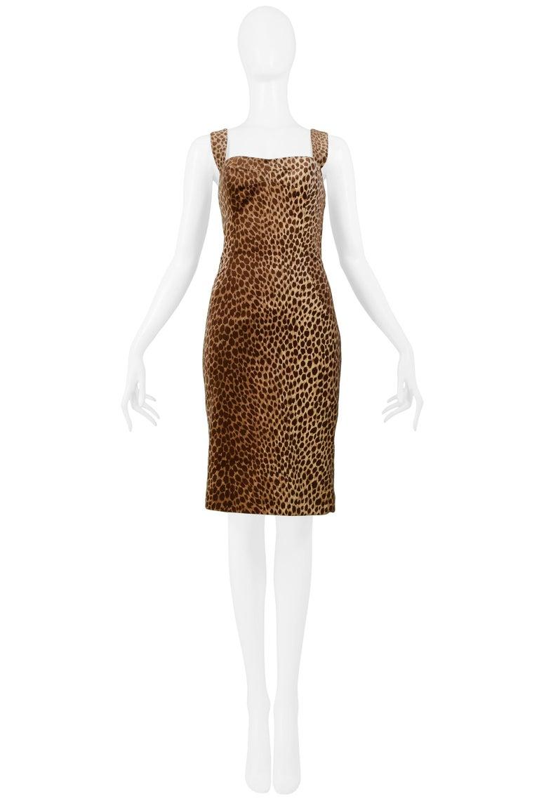 Brown Dolce & Gabbana Cotton Velvet Leopard Print Cocktail Dress 1996-97  For Sale
