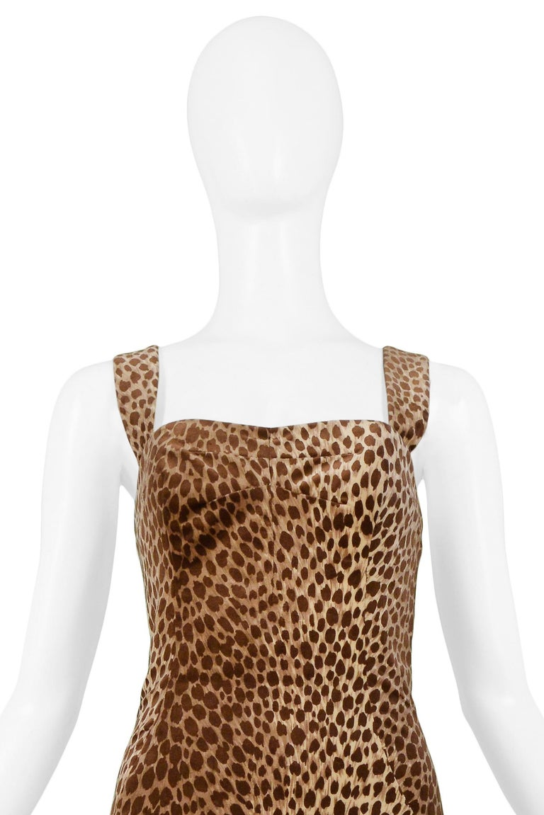Dolce & Gabbana Cotton Velvet Leopard Print Cocktail Dress 1996-97  In Excellent Condition For Sale In Los Angeles, CA