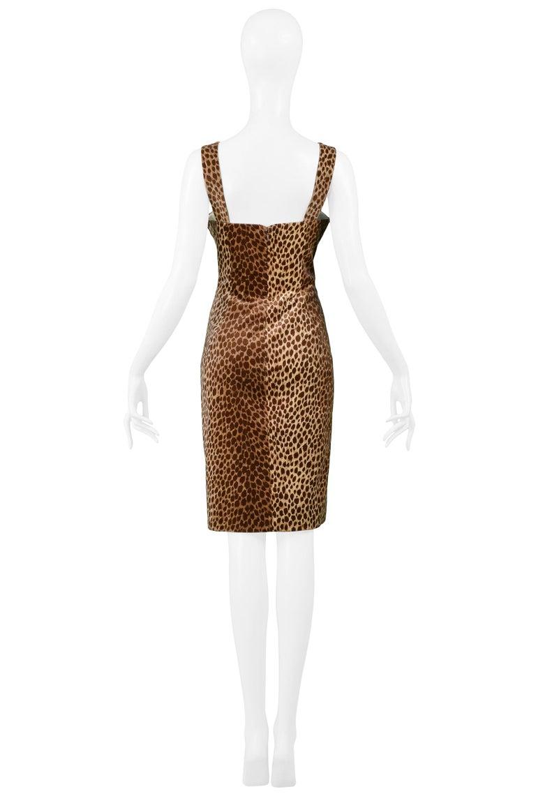 Women's Dolce & Gabbana Cotton Velvet Leopard Print Cocktail Dress 1996-97  For Sale