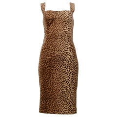 Dolce & Gabbana Cotton Velvet Leopard Print Cocktail Dress 1996-97
