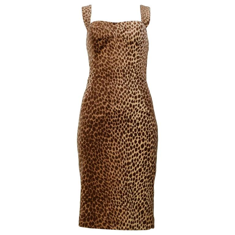 Dolce & Gabbana Cotton Velvet Leopard Print Cocktail Dress 1996-97  For Sale