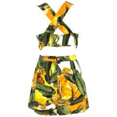 Dolce & Gabbana Courgette-Print Runway Two-Piece Skirt & Bralette IT 42