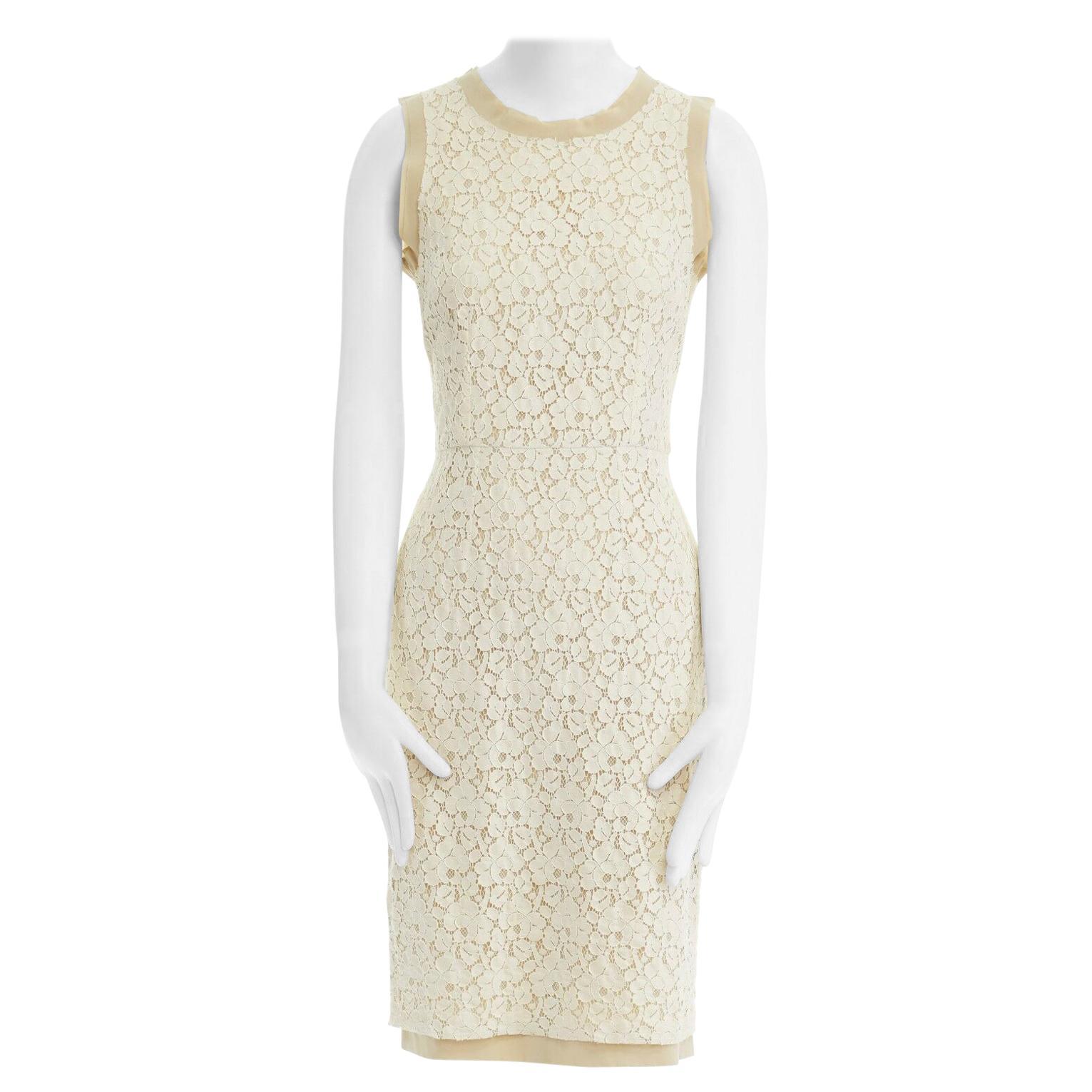 DOLCE GABBANA cream floral lace silk trim sleeveless cocktail dress IT38 US0 XS