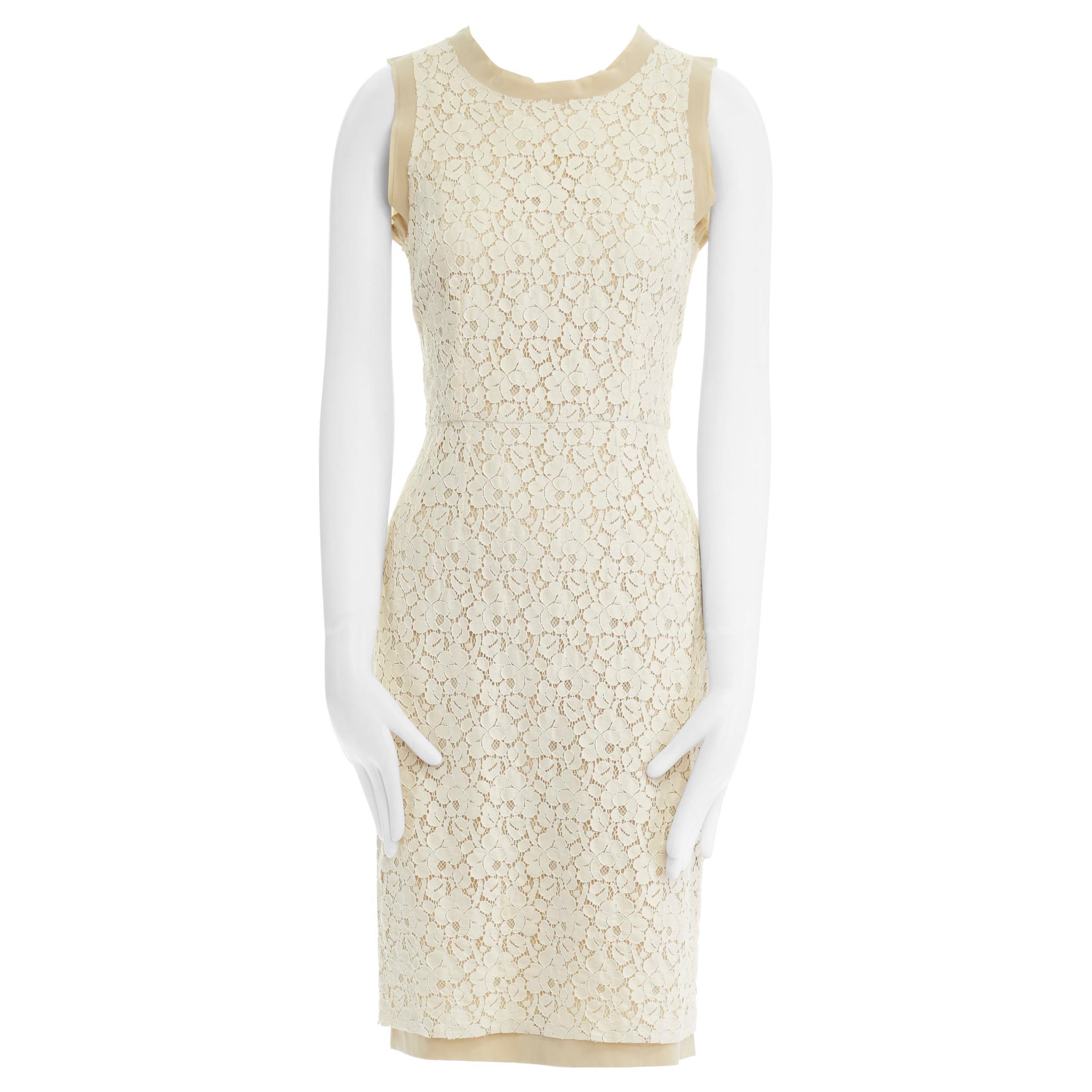 DOLCE GABBANA cream floral lace silk trim sleeveless cocktail dress IT38 XS