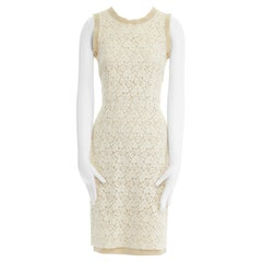 DOLCE GABBANA cream floral lace silk trim sleeveless cocktail dress IT38 XS