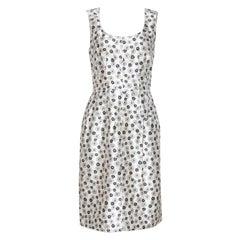 Dolce & Gabbana Cream Floral Print Silk Sleeveless Dress S