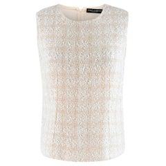 Dolce & Gabbana Cream Tweed Sleeveless Blouse S 42