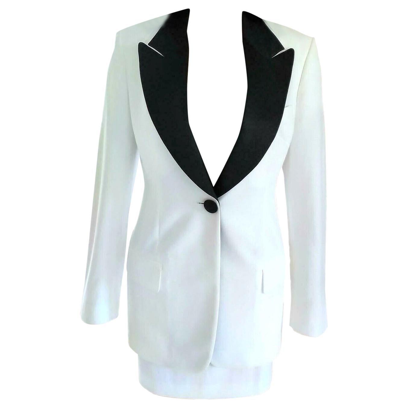 Dolce & Gabbana Crisp White & Black Tuxedo Jacket Mini Skirt Suit IT 40/ US 2 4