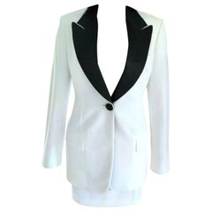 Dolce & Gabbana Crisp White & Black Tuxedo Jacket Mini Skirt Suit IT 40/ US 2 4