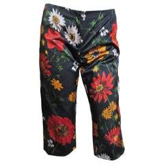 Dolce & Gabbana Cropped Silk Flower Pattern Pants