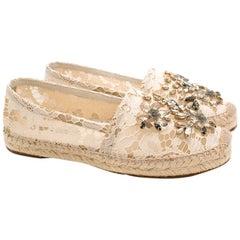 Dolce & Gabbana Crystal Embellished Lace Espadrilles 39