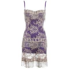 Dolce & Gabbana crystal embellished lace mini dress, ss 2000