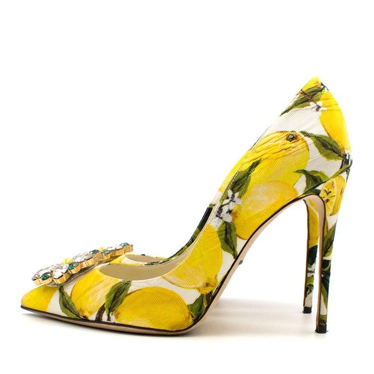 Women's Dolce & Gabbana Crystal Embellished Lemon Pumps 39 For Sale