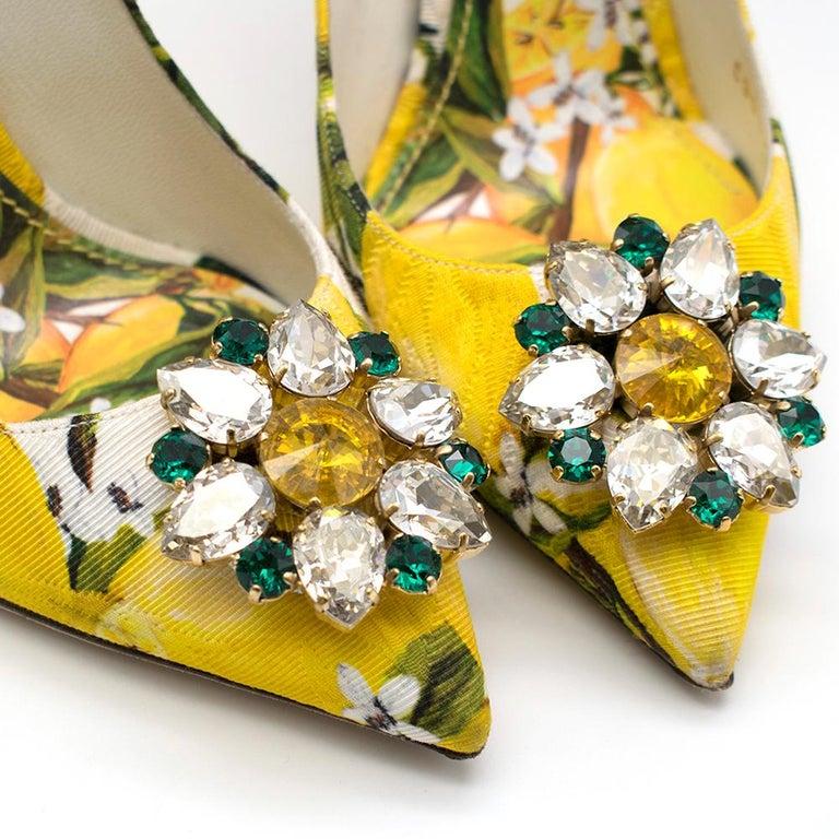 Dolce & Gabbana Crystal Embellished Lemon Pumps 39 For Sale 1