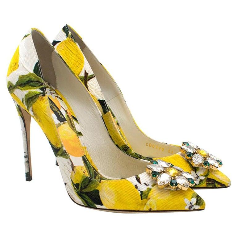 Dolce & Gabbana Crystal Embellished Lemon Pumps 39 For Sale