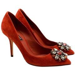 Dolce & Gabbana Crystal Embellished Rust Suede Pumps - Size 37
