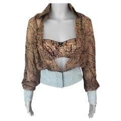 Dolce & Gabbana Crystal Embellished Silk Sheer Blouse & Bra 2 Piece Set