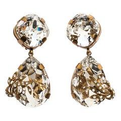 Dolce & Gabbana Crystal Gold Tone Tear Drop Long Clip-on Earrings
