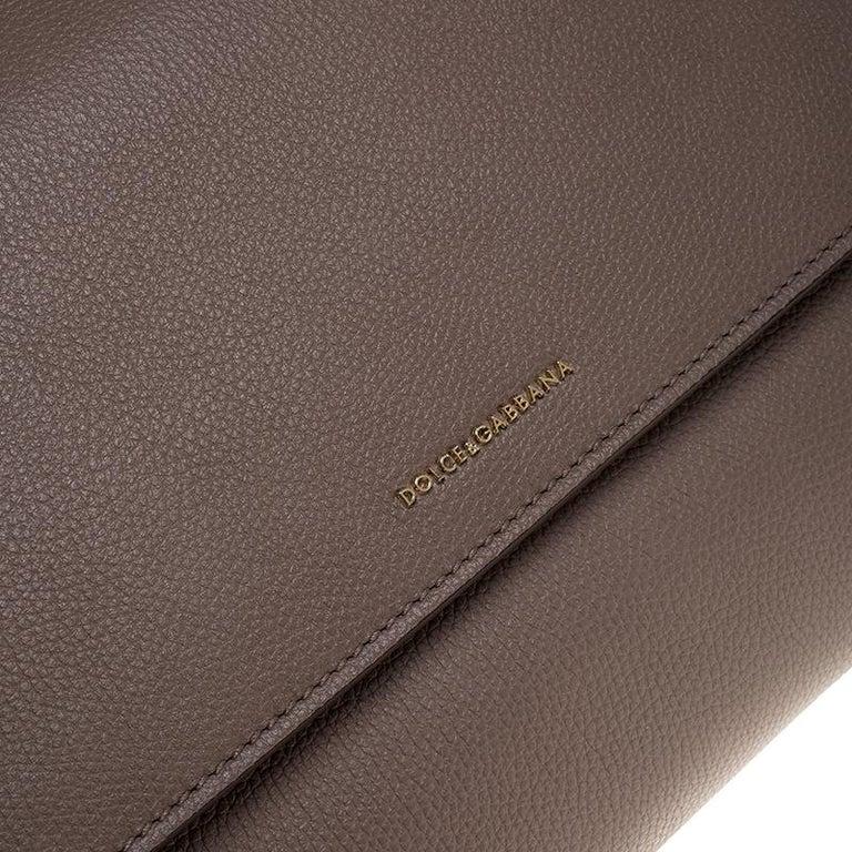 Dolce & Gabbana Dark Beige Smooth Leather Miss Sicily Top Handle Bag For Sale 6
