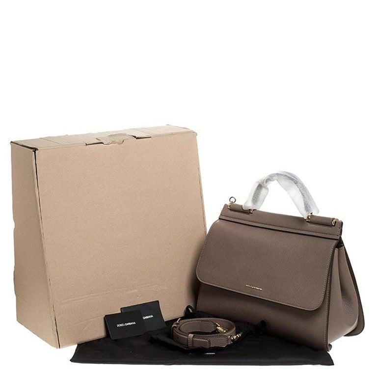 Dolce & Gabbana Dark Beige Smooth Leather Miss Sicily Top Handle Bag For Sale 7