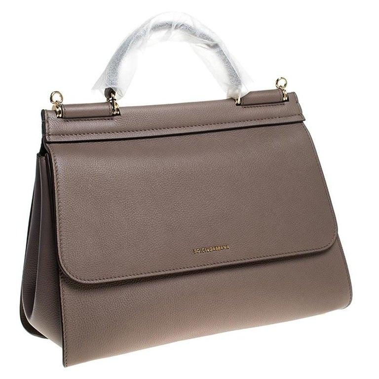 Women's Dolce & Gabbana Dark Beige Smooth Leather Miss Sicily Top Handle Bag For Sale