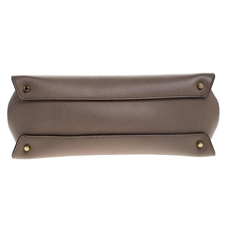 Dolce & Gabbana Dark Beige Smooth Leather Miss Sicily Top Handle Bag For Sale 1