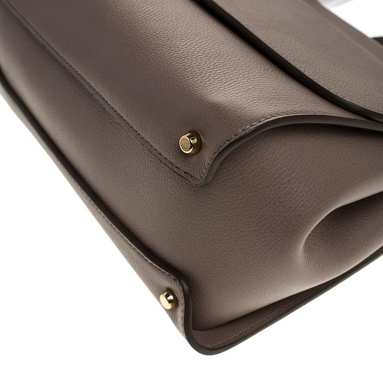 Dolce & Gabbana Dark Beige Smooth Leather Miss Sicily Top Handle Bag For Sale 2