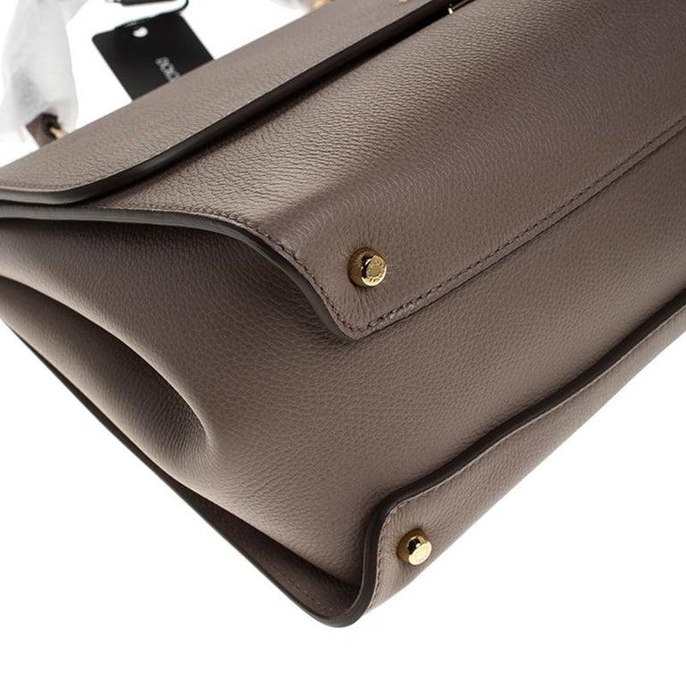 Dolce & Gabbana Dark Beige Smooth Leather Miss Sicily Top Handle Bag For Sale 3