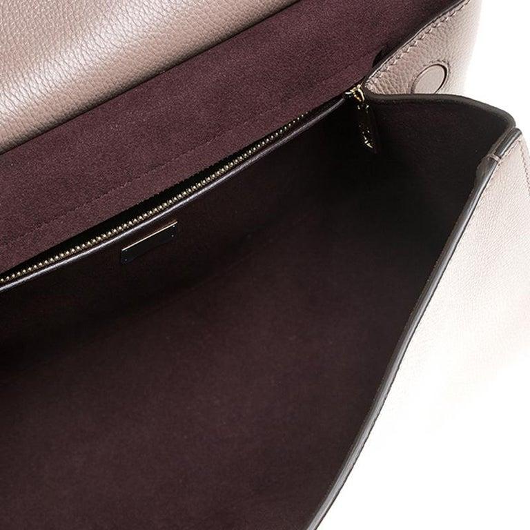 Dolce & Gabbana Dark Beige Smooth Leather Miss Sicily Top Handle Bag For Sale 5
