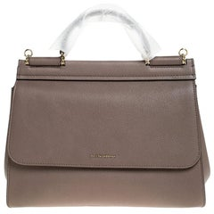 Dolce & Gabbana Dark Beige Smooth Leather Miss Sicily Top Handle Bag