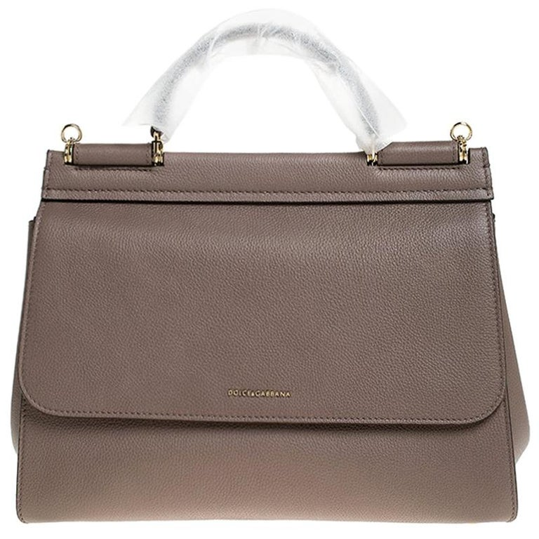 Dolce & Gabbana Dark Beige Smooth Leather Miss Sicily Top Handle Bag For Sale