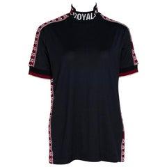 Dolce & Gabbana Dark Blue Cotton Logo Bands Mock Neck T Shirt IT 40