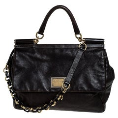Dolce & Gabbana Dark Brown Leather Top Handle Miss Sicily Bag