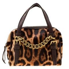Dolce & Gabbana Dark Brown Leopard Print Calf Hair Mini Chain Satchel