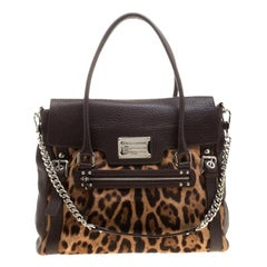 Dolce & Gabbana Dark Brown Leopard Print Leather and Calf Hair Top Handle Bag